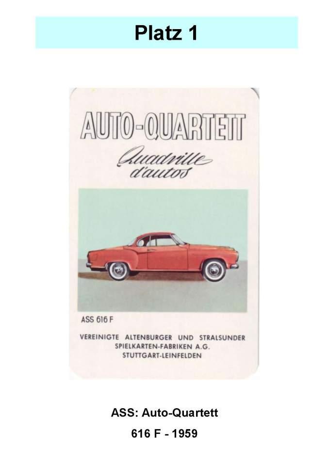 ASS: Auto-Quartett 616 Borgward Isabella 1959 Automatenversion – Platz 1 der Top 12 der technischen Quartettspiele - Das Wertvollste