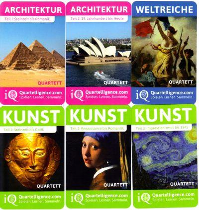 Die Quartelligence Lernquartette zum Spielen, Lernen und Sammeln haben die Themen Kunst, Architektur und Weltreiche.
