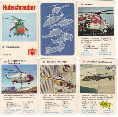 Das Hubschrauber-Quartett mit Brandenburger-Tor-mit-Herz-Logo und der Nummer 6314771 existiert auch als Berliner Spielkarten Hubschrauber-Quartett mit Nr. 6316771.