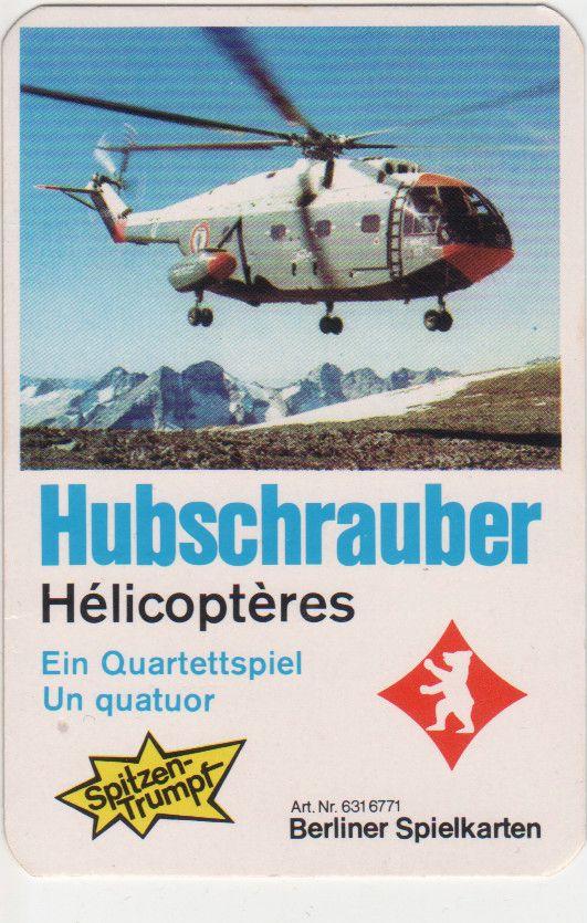 Der Aerospatiale Hubschrauber ist auf dem Titelblatt des Hubschrauber/Helicopter-Quartetts von Berliner Spielkarten.