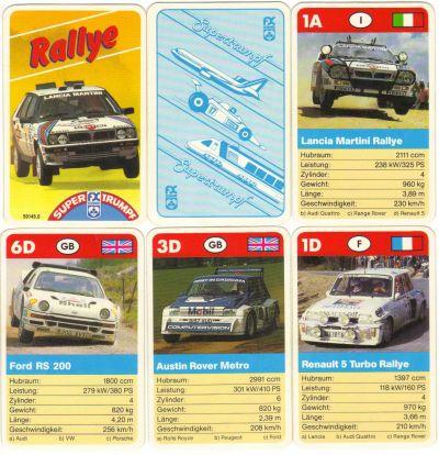 Das Rallye-Autoquartett von FX Schmid mit Nr. 50145-0 im Skatformat enthält Martini-Lancia Delta HF sowie Ford RS 200, Renault 5 Turbo und andere Gruppe-5-Rallyeboliden
