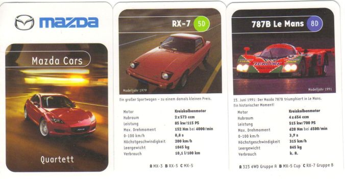 Das Mazda-Cars-Autoquartett hat Mazda RX-8, MX-5, 121, 323, Xedos 9, RX-7 und andere Wankelmotor-Autos.
