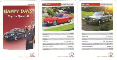 Das Toyota-Quartett Happy Days von ca. 2007 hat einen Corolla Verso auf dem Titel und enthält Toyota 2000 GT (James Bond!), Celica, Cressida, Starlet, MR2, Tercel und Crown.