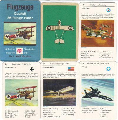 Das Flugzeuge-Quartett von Bielefelder Spielkarten (Joker) hat ein Deckblatt aus Papier mit der roten Fokker DR1 und enthält den Lancaster-Bomber, YF-12, Douglas DC-9, Mirage, Spitfire, Mustang und Caravelle in Revell-Modellbildern.