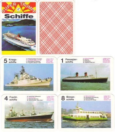 Das Schiffe-Quartett von Piatnik Wien hat Spielkarten im Querformat und zeigt Flugzeugträger Forrestal, Passagierschiff Queen Elizabeth, Cap Anamur, Krabbenkutter, Donaudampfer und die Hafenfähre Alsterdorf.