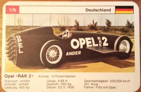 Das Opel Raketenauto Rak2 im Weltrekord-Autoquartett von FXSchmid als Neujahrsgruß im Quartettblog