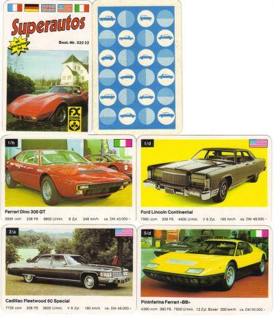 Dieses Autoquartett der Superautos-Serie Nr. 53222 von FX Schmid ist im Querformat und enthält Sportwagen, US-Cars und Stylingstudien, wie z.B. Bertone Uracco, Monteverdi Hai, Ferrari Dino 308 GT, Ford Lincoln Continental, Chevrolet Corvette Stingray, Lamborghini Espada und Sbarro Tiger.