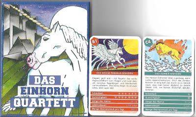 Das Einhorn-Quartett von Quartett.net enthält 32 Einhörner vom Pegasus über klassisches Einhorn bis zum Zombie-Einhorn in einer Quartett.net-Geschenkbox.