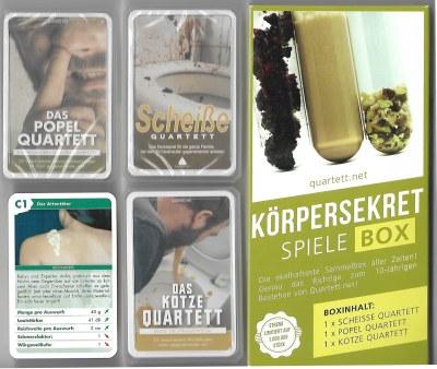 Die Quartett.net Körpersekret-Spiele-Box enthält Kotze-Quartett, Scheiße-Quartett und Popel-Quartett – perfekt als Partyspaß.