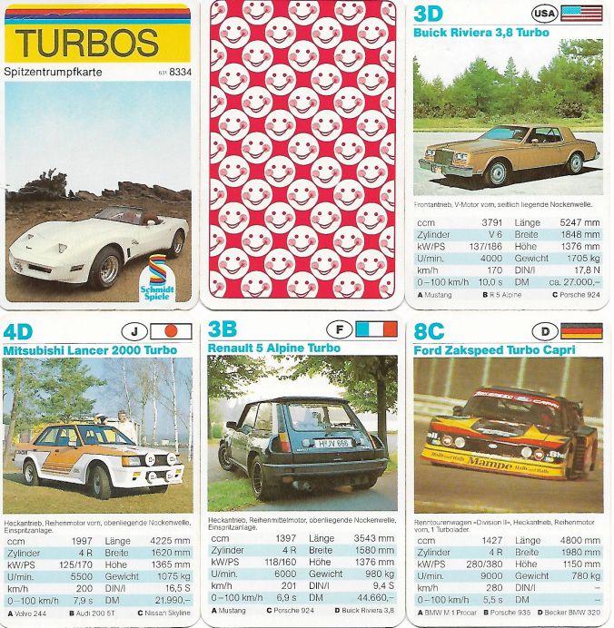 Das Turbos-Autoquartett von Schmidt Spiele hat den Spitzentrumpf und die Spielkarten von Berliner und enthält Corvette, Renault 5 Alpine, Ford Zakspeed Capri, Mitsubishi Lancer, Audi Quattro, BMW M1 Procar und die Smiley-Rückseite.