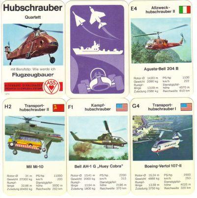 Das ASS-Quartett Hubschrauber mit Nr. 3213 gibt es in einer raren Variante ohne Blitztrumpf auf dem Titelblatt –nur mit Berufstip Flugzeugbauer und Westland Helikopter.