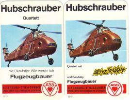 Das ASS-Hubschrauber-Quartett von 1970 mit und ohne Blitztrumpf auf dem Deckblatt