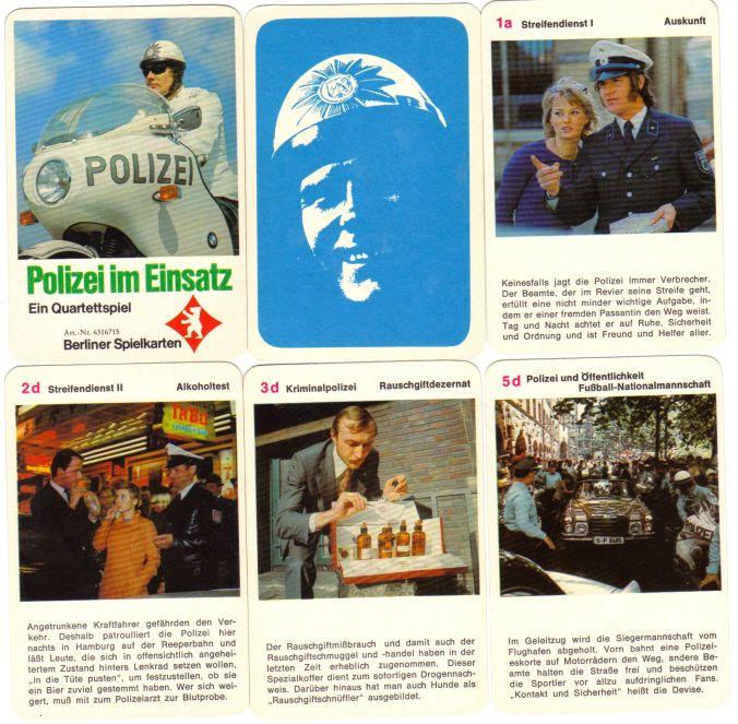 Polizei im Einsatz ist das interessante Polizei-Quartett von Berliner Spielkarten mit Nr. 6316715 mit