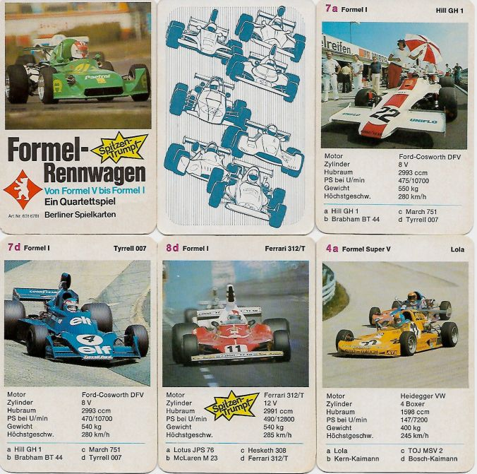 Das Formel-Rennwagen-Quartett von Berliner Spielkarten (Nr. 6316781) enthält Formel V, Super Vau, Formel II und Formel 1 wie Ferrari 312 T und JPS-Lotus 72 der Saison 1975.