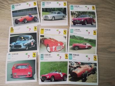 Die Sammelkarten des Verlages Edito-Service zum Thema Sportwagen umfassen auch 9 Ferrari-Modelle bis zum F40