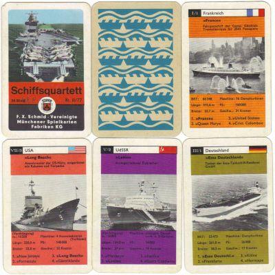 Das erste Schiffsquartett von FX Schmid München mit Nr. II/77 hat 36 Karten mit Schwarzweißfotos von Flugzeugträger Forrestal, Gorch Fock, Queen Mary, Atomkreuzer Long beach, Kreuzfahrtschiff France ua.