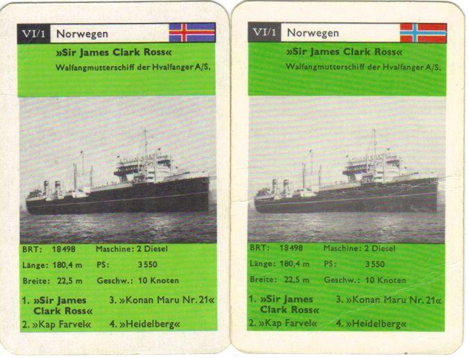 Das Schiffsquartett II/77 von FX Schmidt hat einen Fehler in der Norwegen-Flagge des Walfangschiffs Sir James Clark Ross.