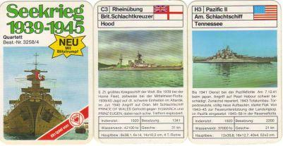Das ASS-Schiffsquartett Seekrieg 1939-1945 zeigt historische Schlachtschiffe, Kreuzer und andere Marineschiffe wie Hood, Bismarck, Yorktown.