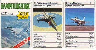 Das ASS-Flugzeugquartett Kampfflugzeuge Neu mit Blitztrumpf enthält Northrop F-5 E Tiger, General Dynamics F16, Sepecat Jaguar, Tornado, McDonell Douglas F-4 Phantom II, Saab 37 Viggen, Mirage und Hercules.