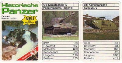 Das ASS-Militärquartett Historische Panzer mit Blitztrumpf hat Tiger ii, Tank Mk V, Jagdtiger, T-34 und Sherman