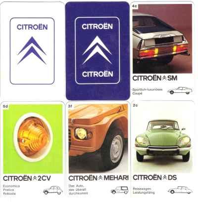 Das Citroen-Quartett mit jeweils 6 Karten pro Automodell enthält Citroën CX, DS, Mehari, Citroën-Maserati SM, 2CV und GS mit Lupen-Tachometer.