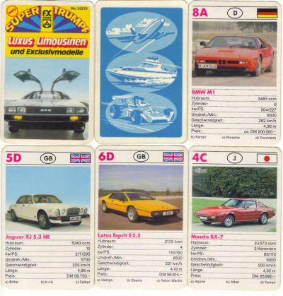 Das FX Schmid Supertrumpf-Quartett Nr. 53210 Luxus-Limousinen und Exklusivmodelle hat den DeLorean auf dem Titelblatt sowie BMW M1 Procar, Lotus Esprit und Mazda RX-7 Wankel bei den Spielkarten.