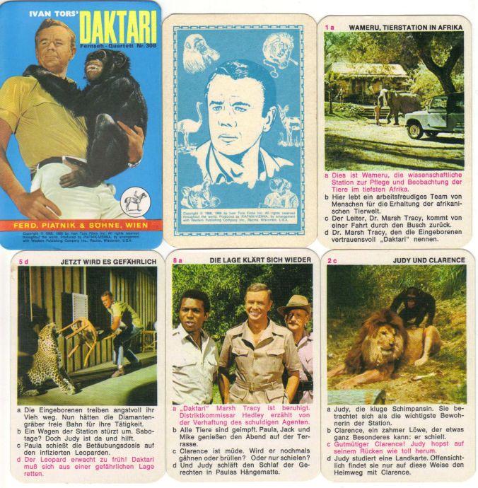 """Das Piatnik-Fernsehquartett """"Ivan Tors Daktari"""" stellt Szenen der TV-Serie mit dem schielenden Löwen Clarence, Judy und Dr. Marsh Tracy vor."""