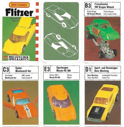 6 Spielkarten vom Flitzer-Quartett mit Matchbox-Autos