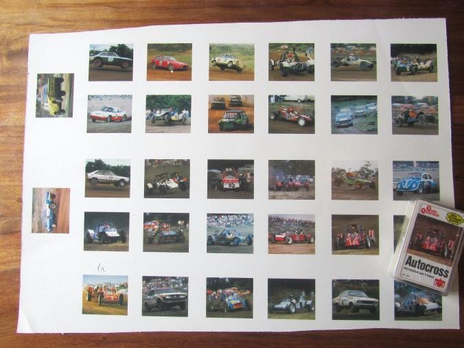 Ein Andruckbogen eines alten Autoquartetts mit allen Fotos