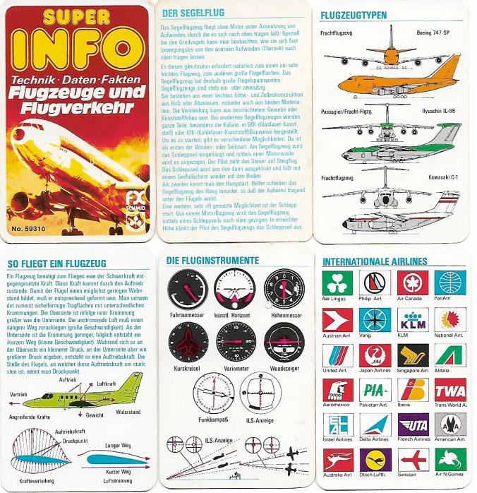 Ein Kartenspiel mit Flugzeug-Infos