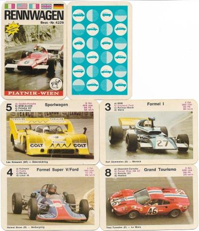 Spielkarten des Rennwagen-Quartetts von Piatnik