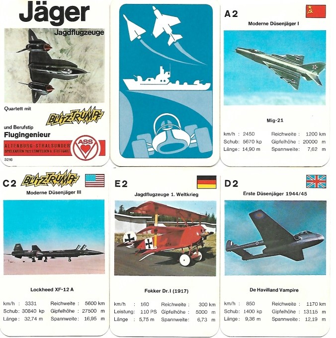 Spielkarten des Jäger-Jagdflugzeug-Quartett von ASS