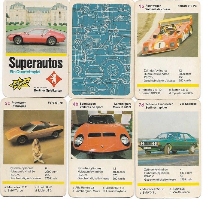 Das Superautos-Quartett von Berliner Spielkarten