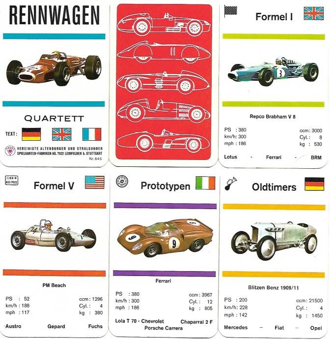 Historische Rennwagen-Quartettkarten von ASS
