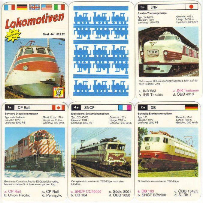 Quartettkarten von Lokomotiven