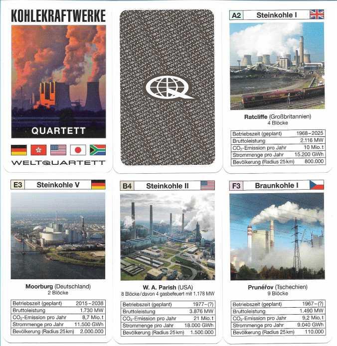 Kohlekraftwerke-Spielkarten der Marke Weltquartett