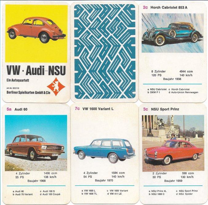 Das VW-Audi-NSU-Autoquartett von Berliner Spielkarten