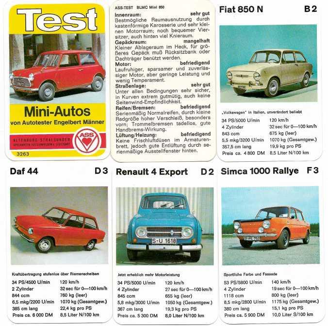 Spielkarten des ASS-Autoquartetts Test Mini-Auto