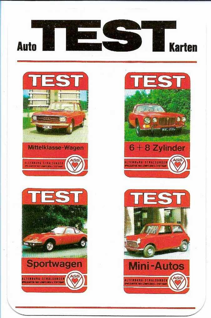 Werbekarte zu den ASS-Test-Autoquartetten