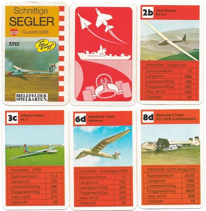 Kartenspiel rund um Segelflugzeuge