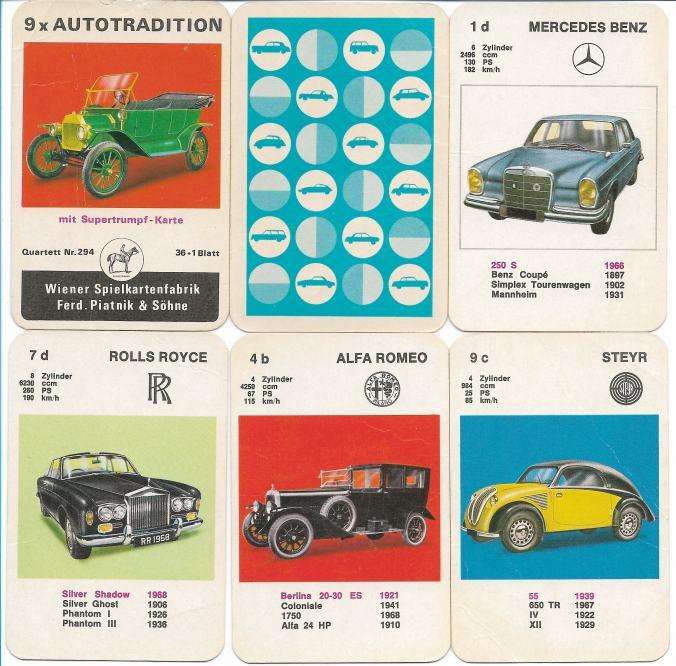 Spielkarten des Oldtimer-Quartetts 9x Autotradition