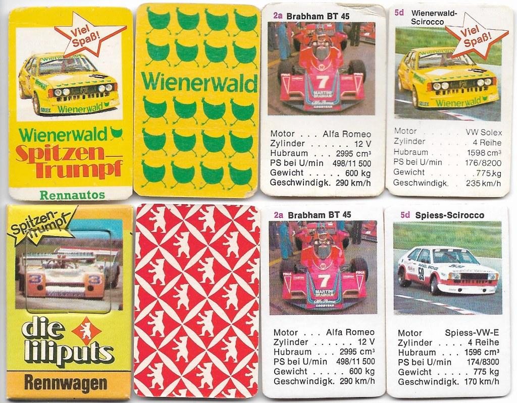 Zwei Mini-Rennwagen-Quartette von Wienerwald und Berliner Spielkarten