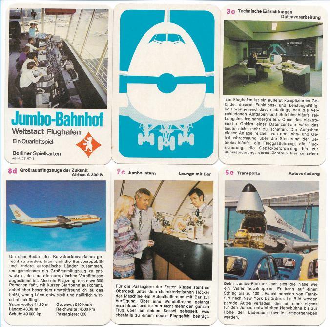 Deckblatt, Rückseite und vier Karten des Flugzeug-Quartetts Jumbo-Bahnhof