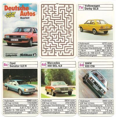 """Pelikan-Spitzentrumpf-Quartett """"Deutsche Autos"""" mit Labyrinth"""